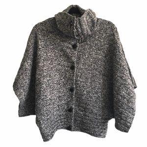 CALVIN KLEIN Wool Turtleneck Poncho Cardi Sweater